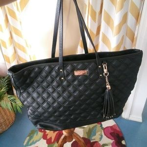 BCBG Ladies Black Quilted Faux Leather tote bag